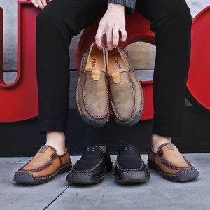 Image 3 - Büyük boy erkek rahat deri düz ayakkabı eski pekin stil mokasen sonbahar kış yüksek kaliteli Moccasins yumuşak taban Zapatos 39 48