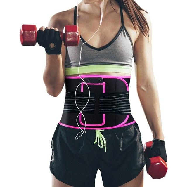 woman Adjustable Elastiac Waist Support Belt Lumbar Back Sweat Belt With Pocket Fitness Belt Waist Trainer Warmer Protection 1