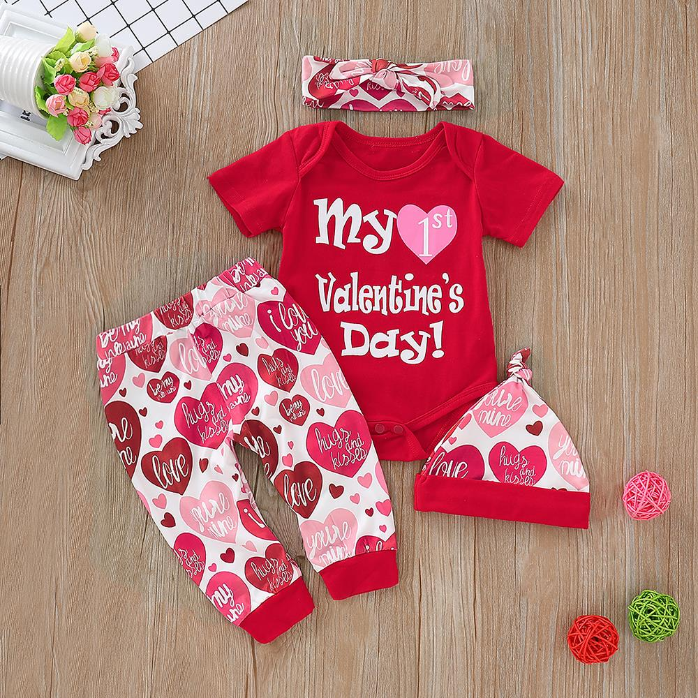 Infant Baby Boy Girl My 1st Valentine/'s Day Outfit Romper Top Pants Hat Clothes