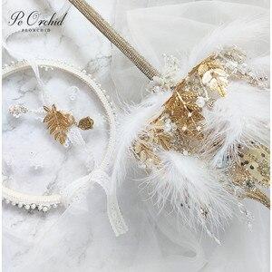Image 5 - PEORCHID 2020 שרביט כתר יוקרה חתונה זר סיכת תכשיטי זהב עלה נוצת כלה יד מחזיק פרחים מותאם אישית 2020