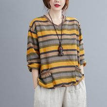 T-shirts à manches longues en coton et lin pour femmes, 2020, automne, Style Simple, Vintage, col en v rayé, Tops amples et décontractés, S1993
