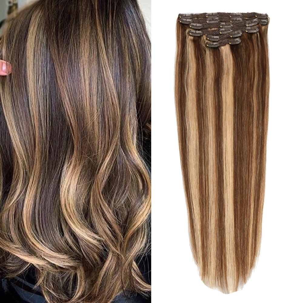 Toysww Brazilian Clip in Human Hair 6pcs/set Seamless Natural Hair Remy Clip Extensions Full Head Clip Ins