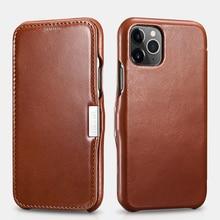 Retro Luxury Genuine Leather Metal Magnetic Flip Case for iPhone 11 Pro Max Xs Max XR X 8 7 Plus SE Original Mobile Phone Cover