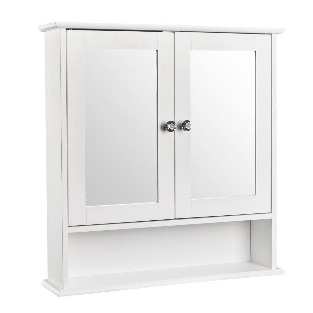 【US Warehouse】Double Door Mirror Indoor Bathroom Wall Mounted Cabinet Shelf White    Drop Shipping USA
