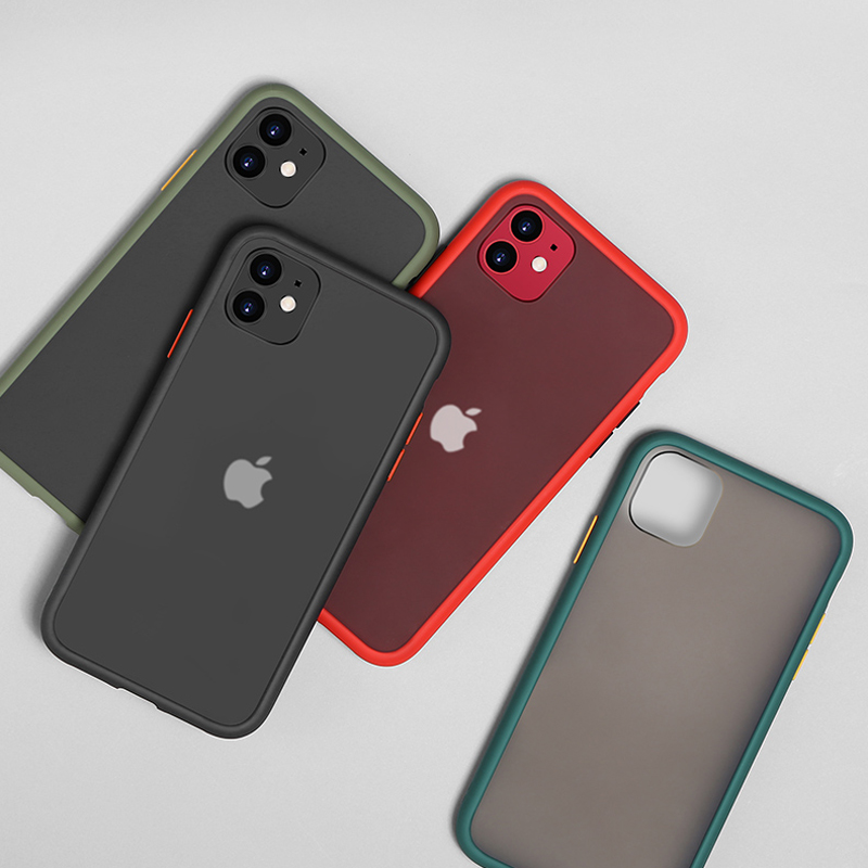 N1986N Phone Case For iPhone 11 Pro X XR XS Max 7 8 Plus Luxury Contrast Color Frame Matte Hard PC Protective For iPhone 11 Case 4