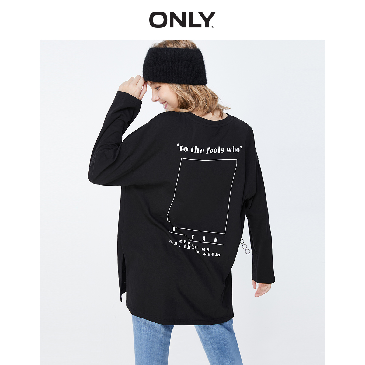 ONLY Women's Loose Fit Letter Print Long-sleeved T-shirt | 119302513