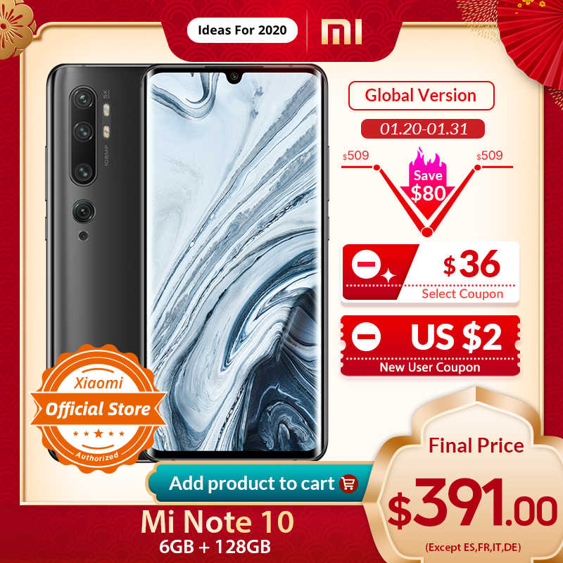 "Xiao mi Note 10 Version mondiale 6GB 128GB Smartphone 108MP Penta caméra Snapdragon 730G 6.47 ""3D incurvé AMOLED 5260mAh 30W NFC"