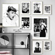 Canvas Painting Posters Wall-Pictures Nordic-Decor Movie Star Prints Living-Room Audrey Hepburn