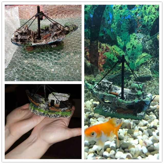 2019 Hot Aquarium Fish Tank Landscape Pirate Ship Wreck Ship Decor Resin Boat Ornament Aquarium Accessories Decoration #Y5 2