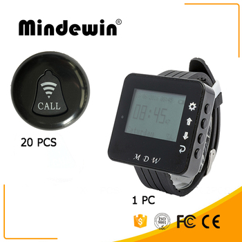 Mindewin 433MHz Restaurant Wireless Table Bell System 1PCS Watch Pager M-W-1 and 20PCS Table Call Button M-K-1
