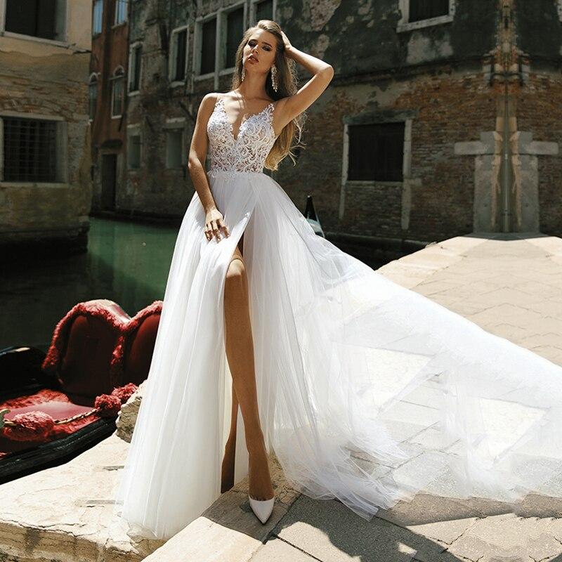 Eightale Boho Wedding Dress V-Neck A-Line Princess Wedding Gowns Side Split Tulle Beach Bride Dress 2020 Vestidos De Novia