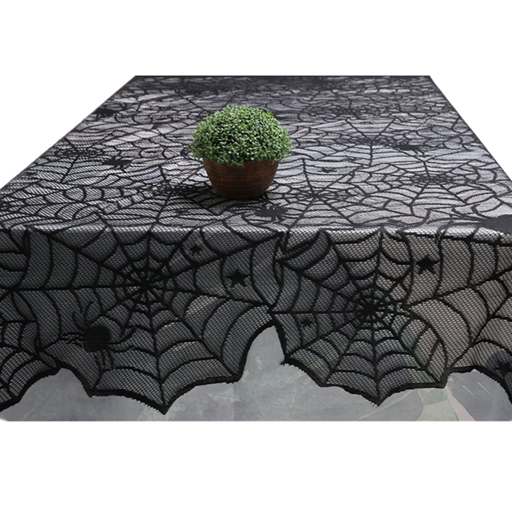 """18/""""x72/"""" Halloween Spider Web Table Runner Lace Tablecloth Cover Party Decor"""