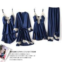 Women Pajamas 5 Pieces Satin Sleepwear Pijama Silk Home Wear Home Clothing Lace Trim Sleep