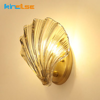 Nordic Simple Modern Shell Wall Light Copper Retro Wall Lamp Living Room Background Wall Aisle Bedroom Children's Room Lamp