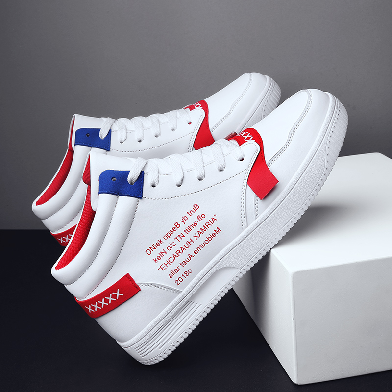 New Hot Sale  Mens High Top Sneakers Fashion Men's Vulcanized Shoes Solid High Top Sneakers Men PU Leather Flat with Men Shoes