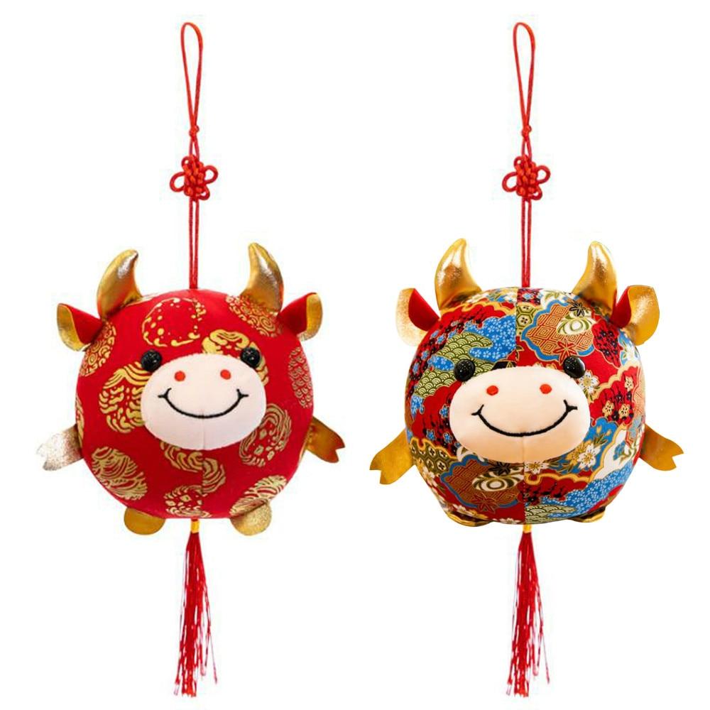 2021 год Китайский Знак зодиака бык крупного рогатого скота плюшевые игрушки милый красный с изображением коровы; Tang костюм талисмана плюшев...