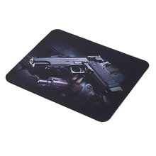 Cute USB Mouse For Laptop PC And Guns Pattern Anti-Slip Gaming Pad Mat Mousepad 22cm*18cm