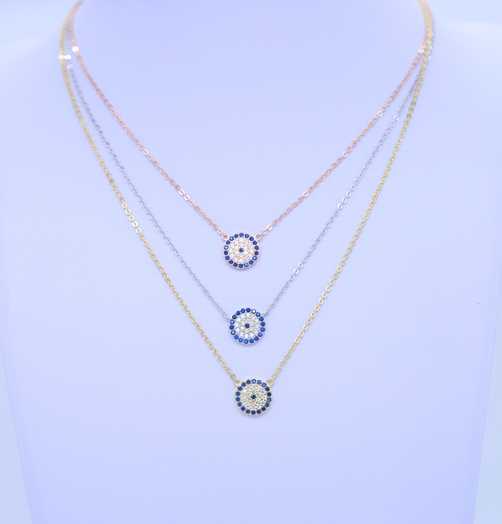 2018 New Fashion Women Gift Party Jewelry Silver Chain 925 Sterling Silver Evil Eye Sideway Cross Necklace Paved BLUE Zirconia