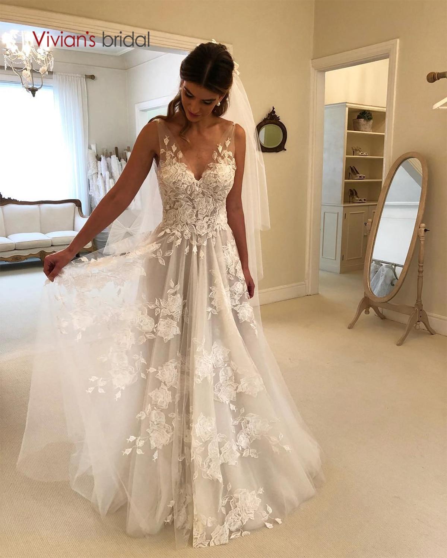 Vivian's Bridal Elegant Floral Print Wedding Dress Sexy Double V-neck Sweep Train Soft Organza Vestido-De-Novia Robe-De-Mariée