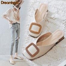 Summer Pumps Slippers Block-Heels Casual-Shoes Designer British Footwear Mules Wooden