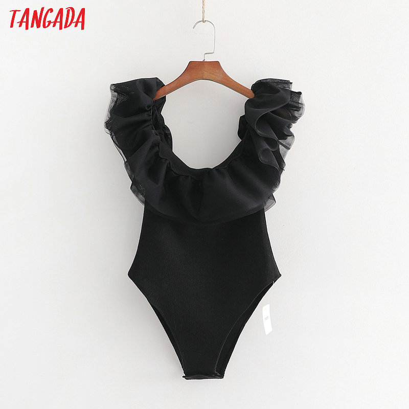 Tangada Women Sexy Mesh Ruffles Sleeve Black Bodysuit Backless Big Stretchy European Fashion Solid Shirt Playsuit 1D01
