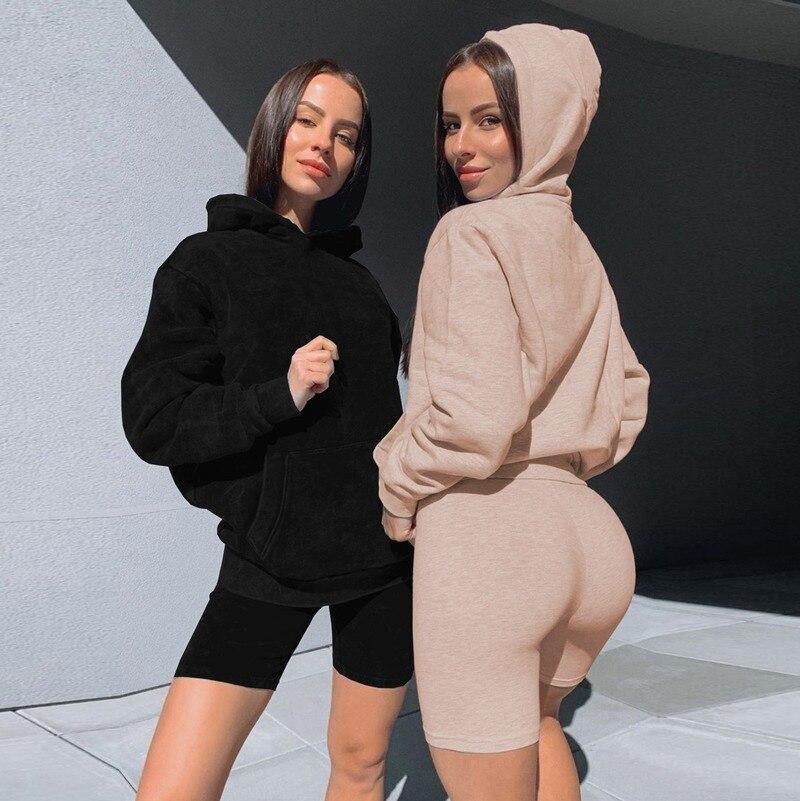 2020 BJYL осень и зима из двух частей с капюшоном Повседневный Спортивный костюм свитер из 2 частей Короткий Комплект для женщин
