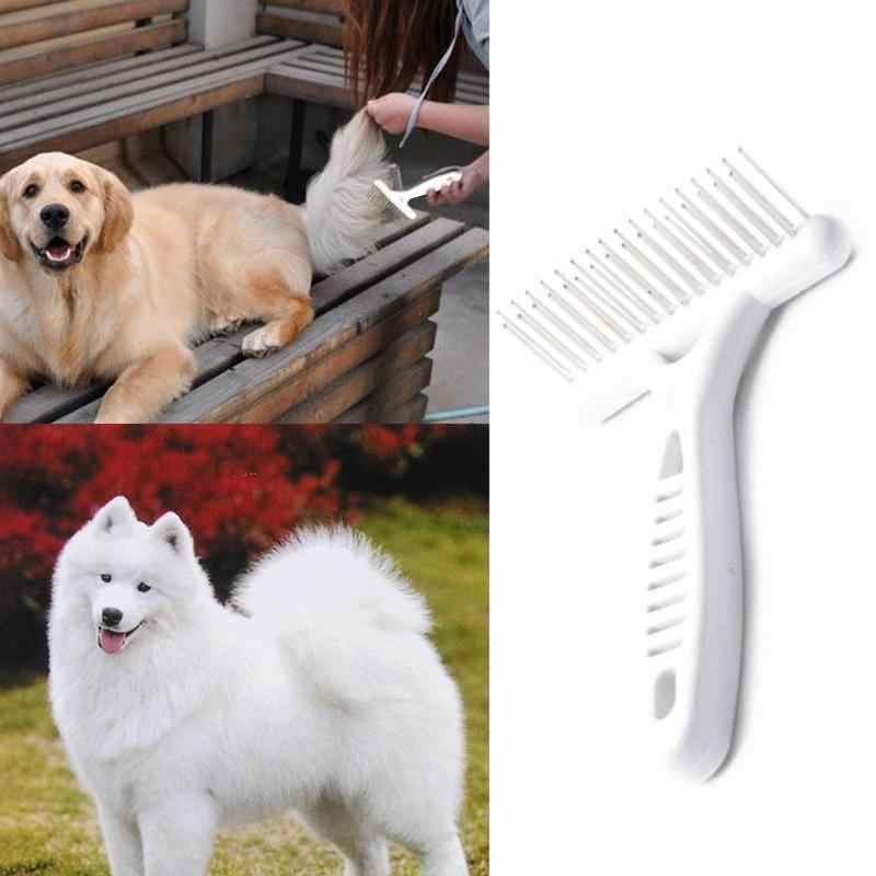 Anjing Peliharaan Sisir Double Row Pin Pendek Rambut Panjang Tebal Bulu Penumpahan Hapus Kucing Groom Rake Sikat Sisir Pet perawatan Alat Perlengkapan