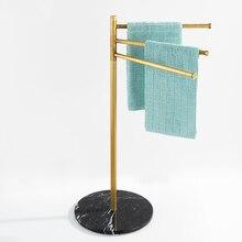 Nordic Luxury Black Marble Rotary Towel Rack Bronze Brass Bathroom Accessories Towel Holder Floor-mounted Bathtub Towel 3 Bars