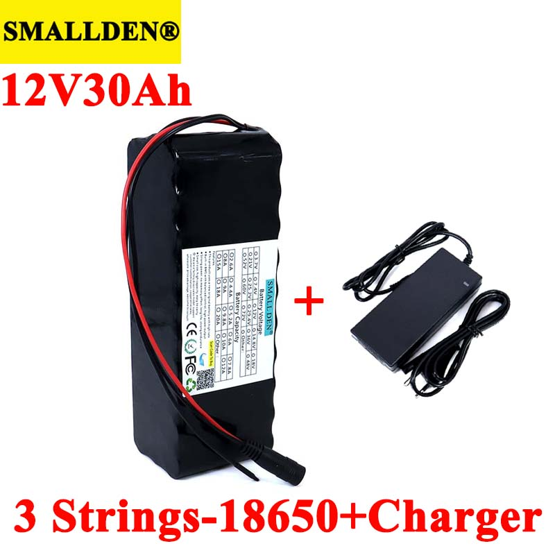 SMALLDEN 11.1v 12V 30Ah 18650 Lithium <font><b>Battery</b></font> <font><b>Pack</b></font> 30000mah 500W 800W for Miner's Lamp <font><b>Batteries</b></font> with <font><b>3s</b></font> BMS+12.6v 3A Charger image