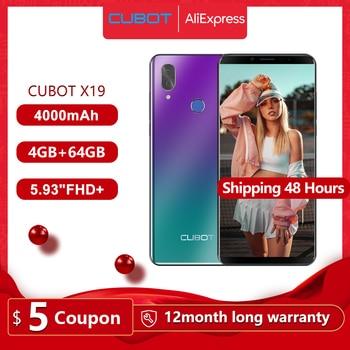 CUBOT X19 Smartphone 4G LTE Dual SIM, Télephone Portable débloqué Écran FHD 5,93 Pouces (18:9) 4000mAh Batterie Android 9.0, 4Go+64Go (Extensible à 128Go) Double Camera 16MP+2MP/ 8MP Identité faciale