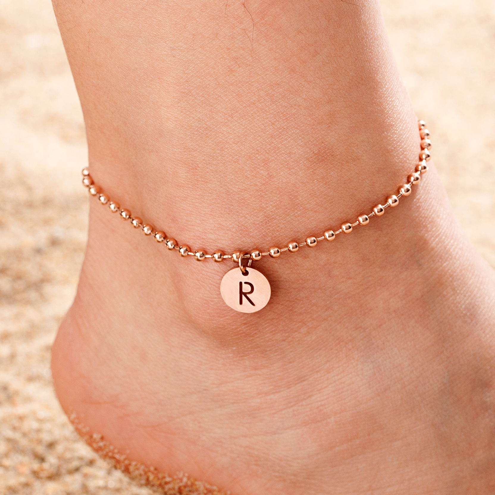 Fashion Women A-Z Initial Anklet Stainless Steel Beaded Chain Beach Anklet Bracelet Girl Letter name Leg Chain Jewelry charm hot