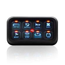 Livraison gratuite bleu LED 8 Gang commutateur panneau Circuit contrôle relais système boîte mince tactile panneau de commande pour bateau Jeep UTV caravane