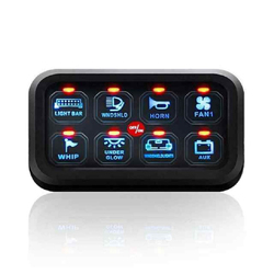Free Shipping Blue LED 8 Gang Switch Panel Circuit Control Relay System Box Slim Touch Control Panel for Boat Jeep UTV Caravan