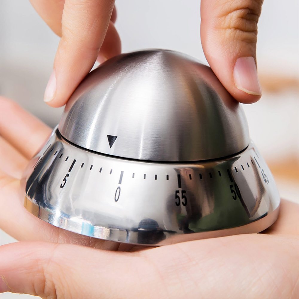 Kitchen timer stainless steel cooking eggs 60 minutes mechanical alarm clock baking cooking tools countdown time management-4
