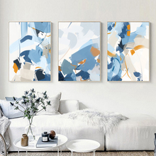 Nordic Abstract Blue Paint Canvas Painting Poster Print Wall Art Picture for Living Room Bedroom Beautiful Decoration Home Decor birds abstract nordic wall pictures poster print canvas painting calligraphy decor for living room bedroom home decor frameless