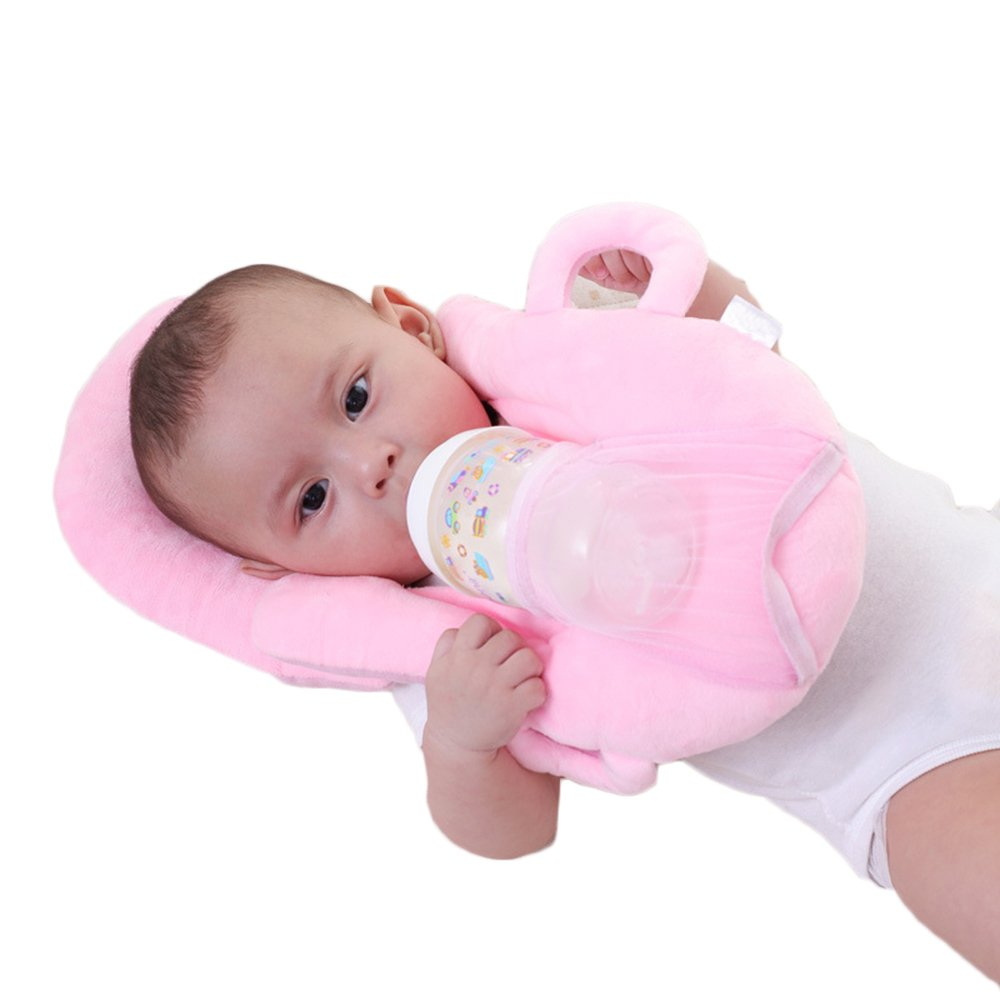 Nursing Cushion Anti Roll Prevent Flat Comfortable Baby Feeding Pillow Head Cushion With Bottle Holder Hand Free Portable