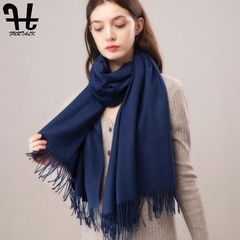 FURTALK Women Cashmere Scarf And Wrap Winter Plaid Scarf Pashmina Poncho Shawls Scarf Hijab 2019 Luxury Brand Foulard Femme