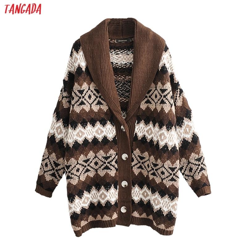 Tangada Women Winter Geometric Pattern Oversized Cardigan Pockets Sweater Long Sleeve Vintage Female Knitted Cardigan Coat JN315