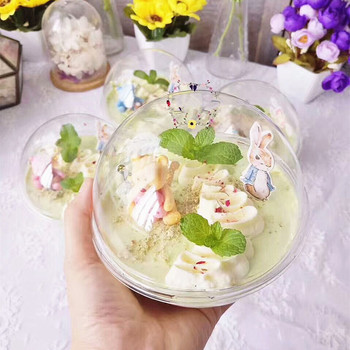 50pcs Thicken PET plastic transparent hollow crystal ball shape mousse cake ice cream dessert cup with cover baking decoration