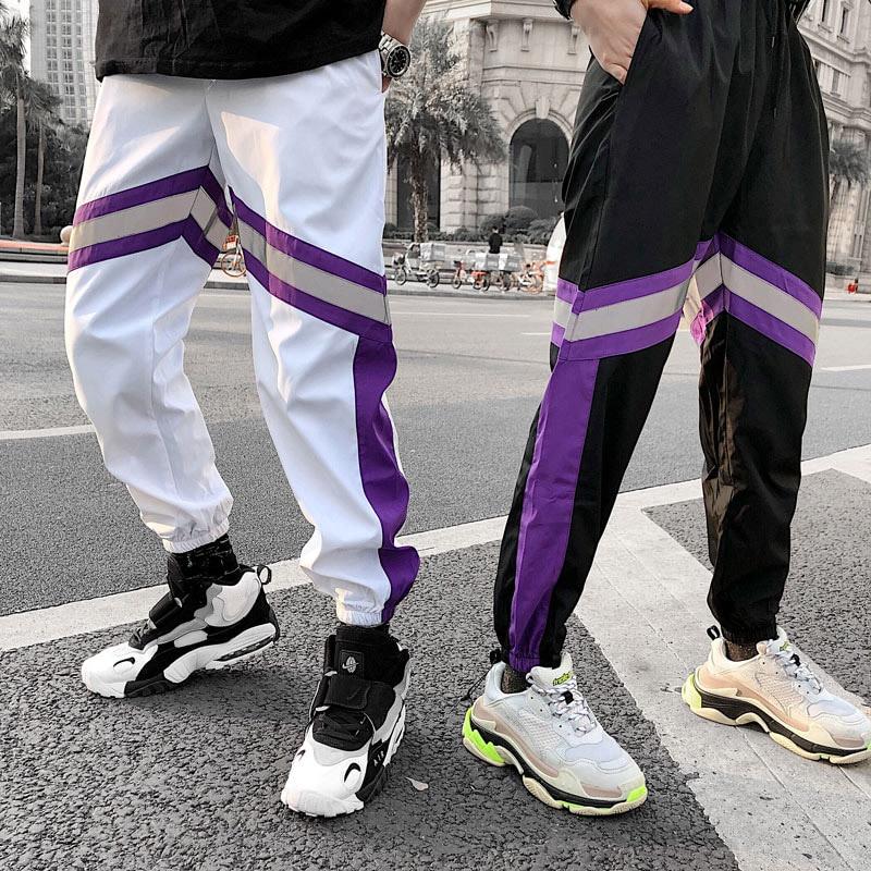 Image 3 - 2019 Hip Hip Men Jogger Pant 3M Reflective Harajuku Baggy  Sweatpant Streetwear Track Pants Sweat Trousers Summer Thin Harem Pant