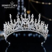 Himstory Noble Stunning  Silver Rhinestone Crown and Tiaras Wedding Bride Queen Headband Woman Hair Accessories Hairwear Jewelry