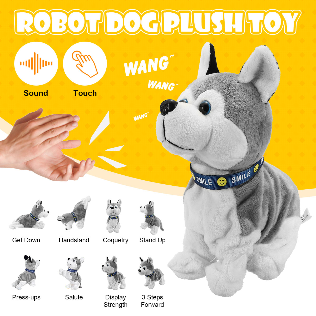 Electronic Robot Dog Sound Control Kids Plush Toy Sound Control Interactive Bark Stand Walk Electronic Toys Dog For Baby Gifts