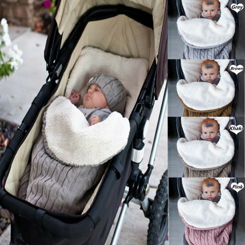 Newborn Baby Winter Stroller Wrap Blanket Footmuff Thick Warm Knit Crochet Swaddle Sleeping Bags Toddler Little Baby Sleep Sack