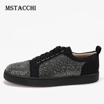 MStacchi Luxury High Quality Men Sneakers Leather Lace-Up Rhinestone Comfortable Male Footwear Fashion Outdoor Leisure Men Shoes