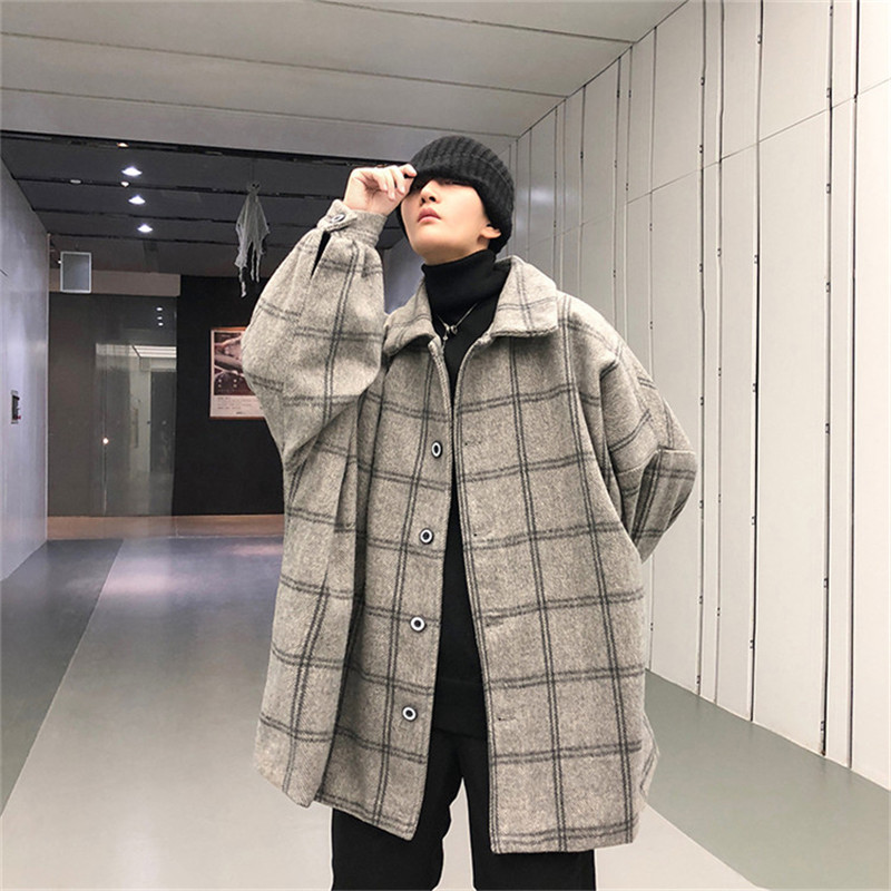 Plaid Men's Winter Coat Lapel Warm Loose Blends Men Jacket Youth Popular Single-Breasted Casual Fashion Orange Wool CoatDS501034