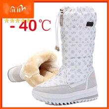 Женские ботинки; Зимняя обувь; Женские теплые водонепроницаемые высокие сапоги на платформе с толстым плюшем; botas mujer; Размеры 35 42