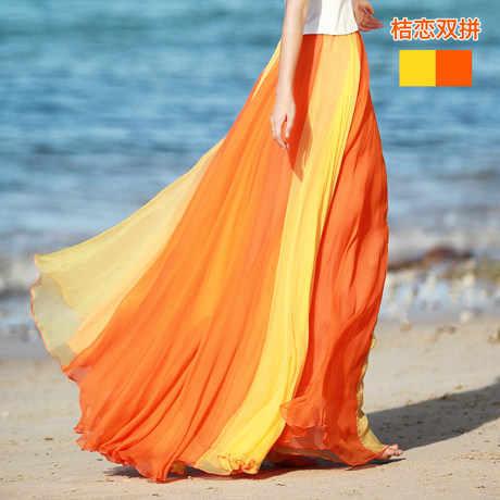 6610 #8 M גדול מכפלת לשטוף נשים חצאית שיפון כפול צבע משותף Longuette בוהמית ארוך חצאיות קיץ