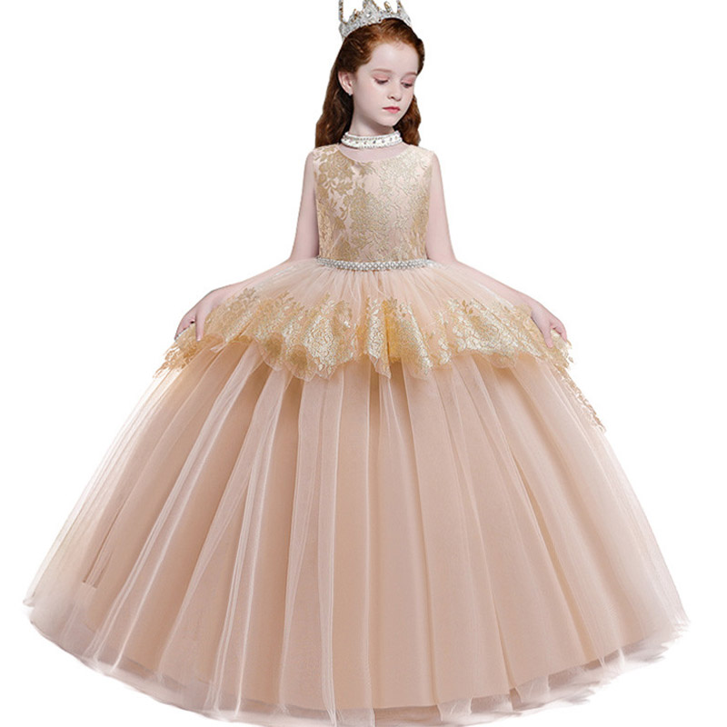 Evening Long Princess Dress First Communion Dress Girls Flower Wedding Clothing Kids Ball Gown Baby Fluffy Elegant Costume