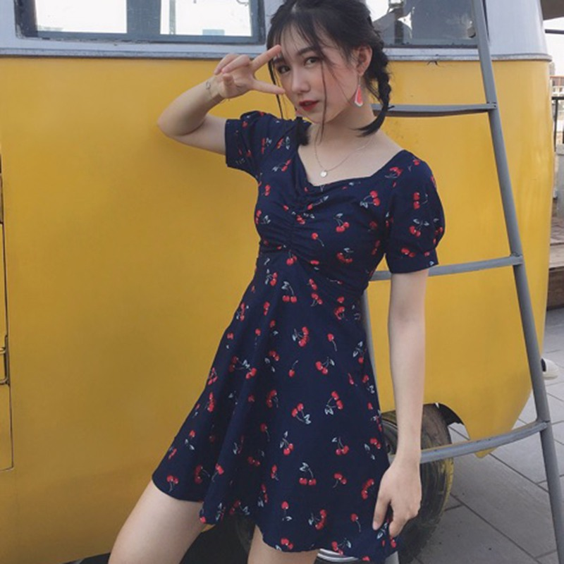 2019 Summer Women 39 s Sweet Fresh Style Short Sleeve V Neck Plaid Cherry Print A Line Lace Up Above Knee Mini Slim Dress in Dresses from Women 39 s Clothing