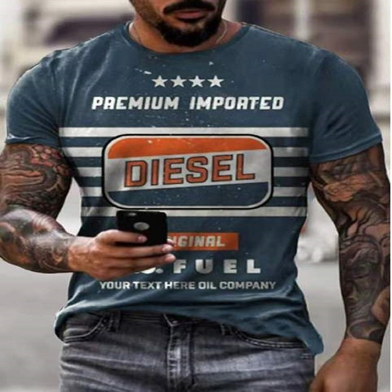 2021 Men's T-shirt Summer Casual Short Sleeve T-shirt Best-selling Streetwear Retro 3D Printing Letter T-shirt Men's Casual Top